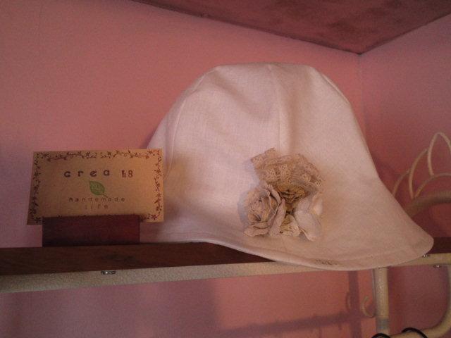 ホワイトリネン帽子